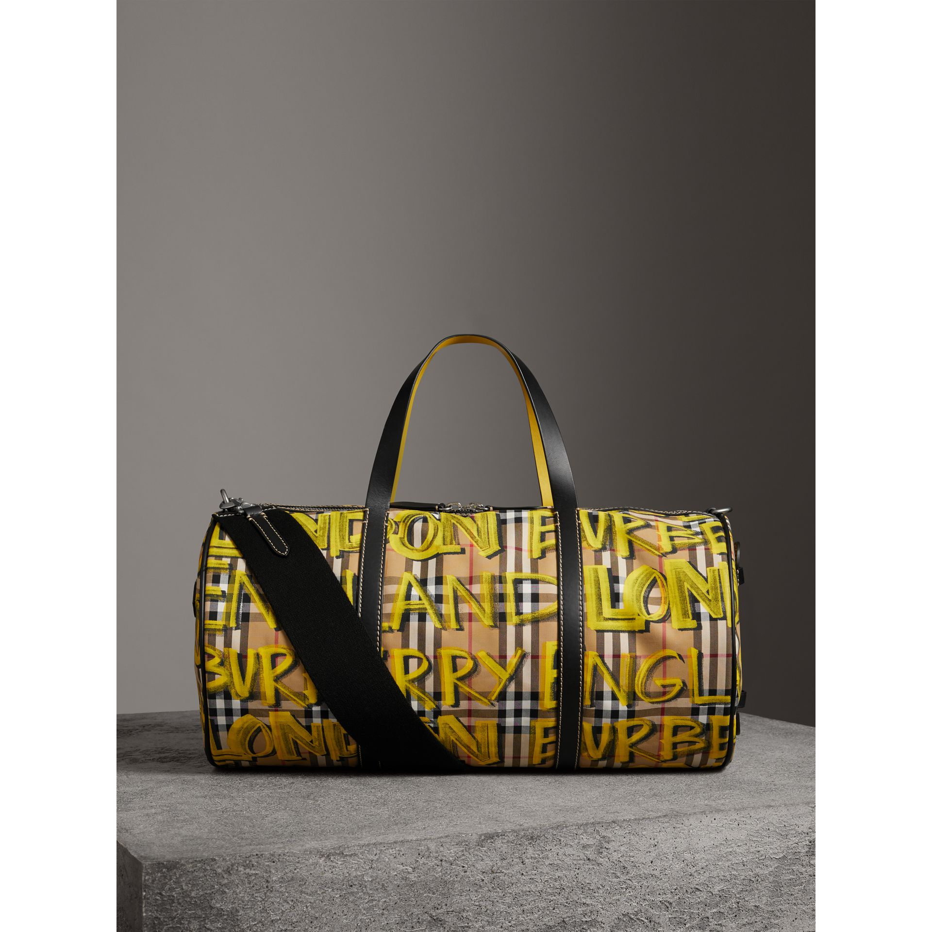 Medium Graffiti Print Vintage Check Barrel Bag in Bright Yellow/antique Yellow - Men | Burberry United States - gallery image 5