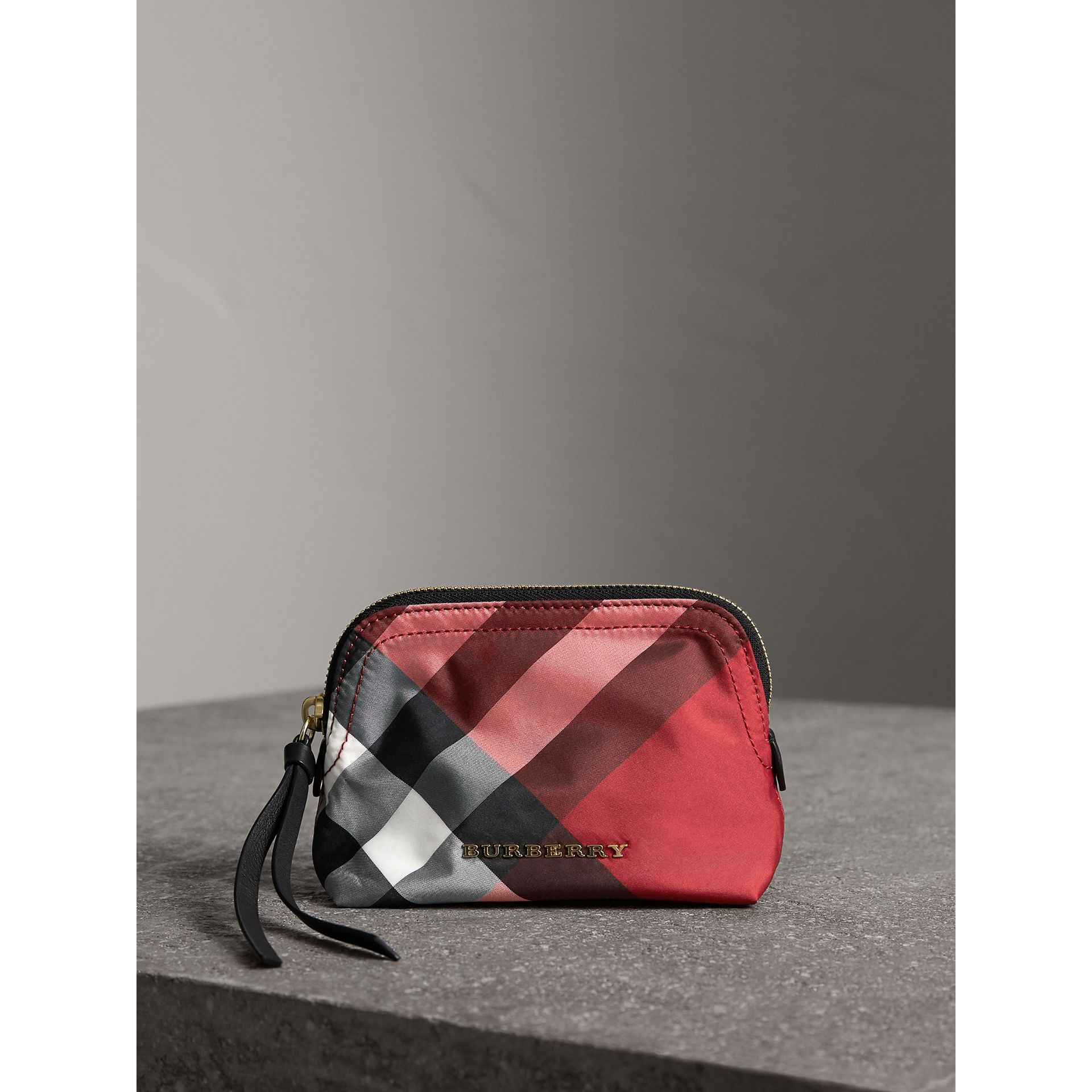 Small Zip-top Check Pouch in Parade Red - Women | Burberry Canada - gallery image 0