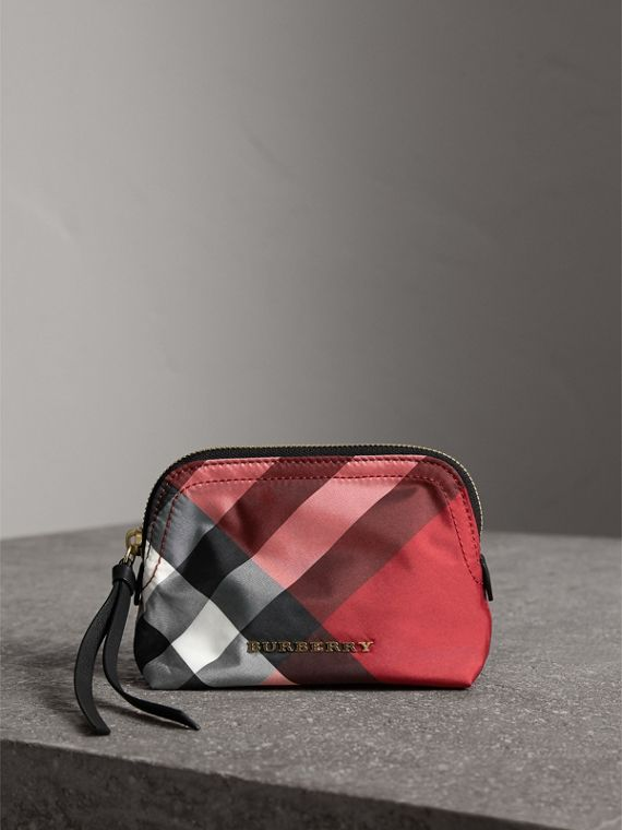 Bolsa pouch pequena com estampa xadrez e zíper (Vermelho Paixão)