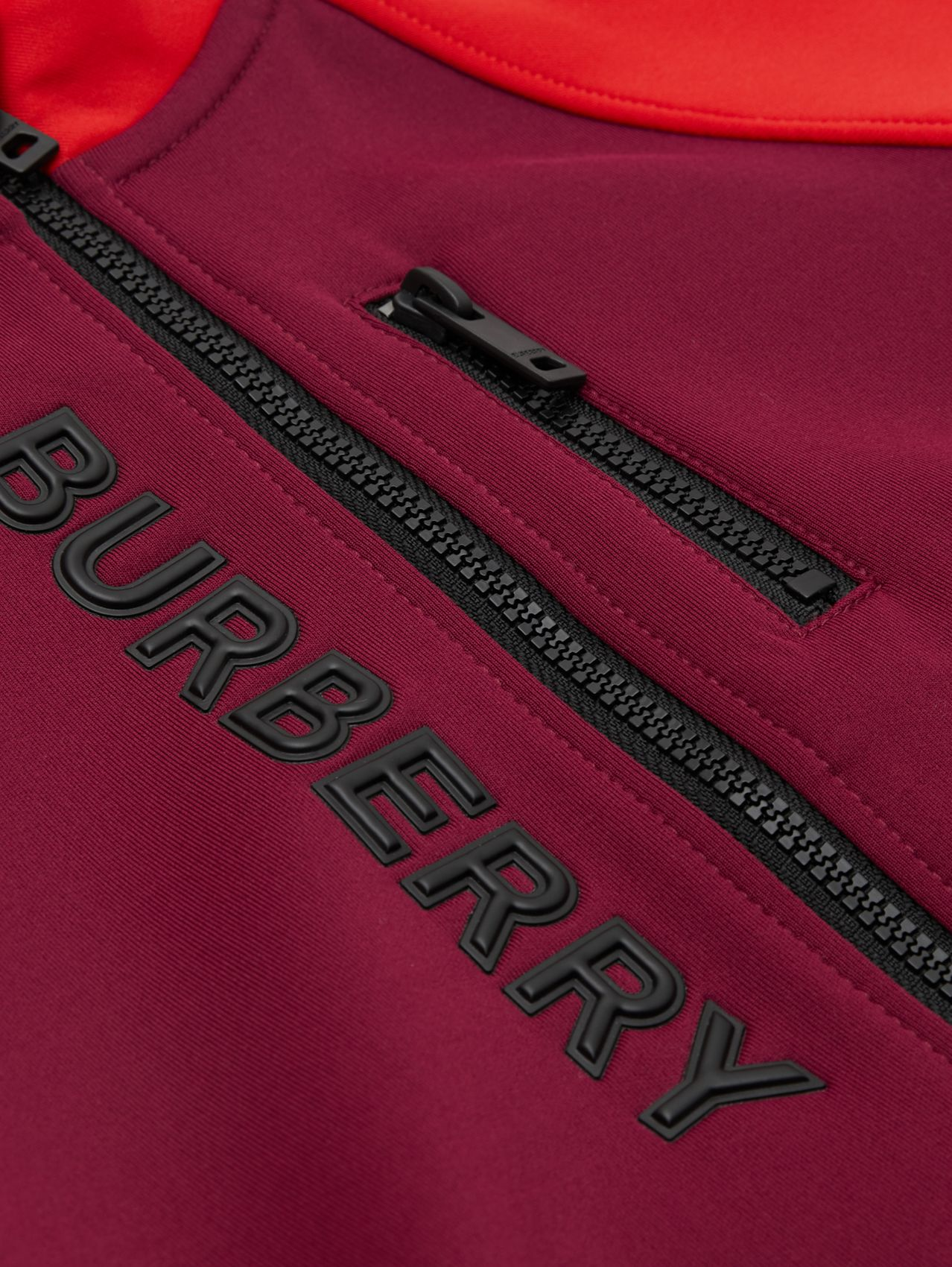 Logo Print Two-tone Stretch Jersey Track Top (Dark Burgundy)