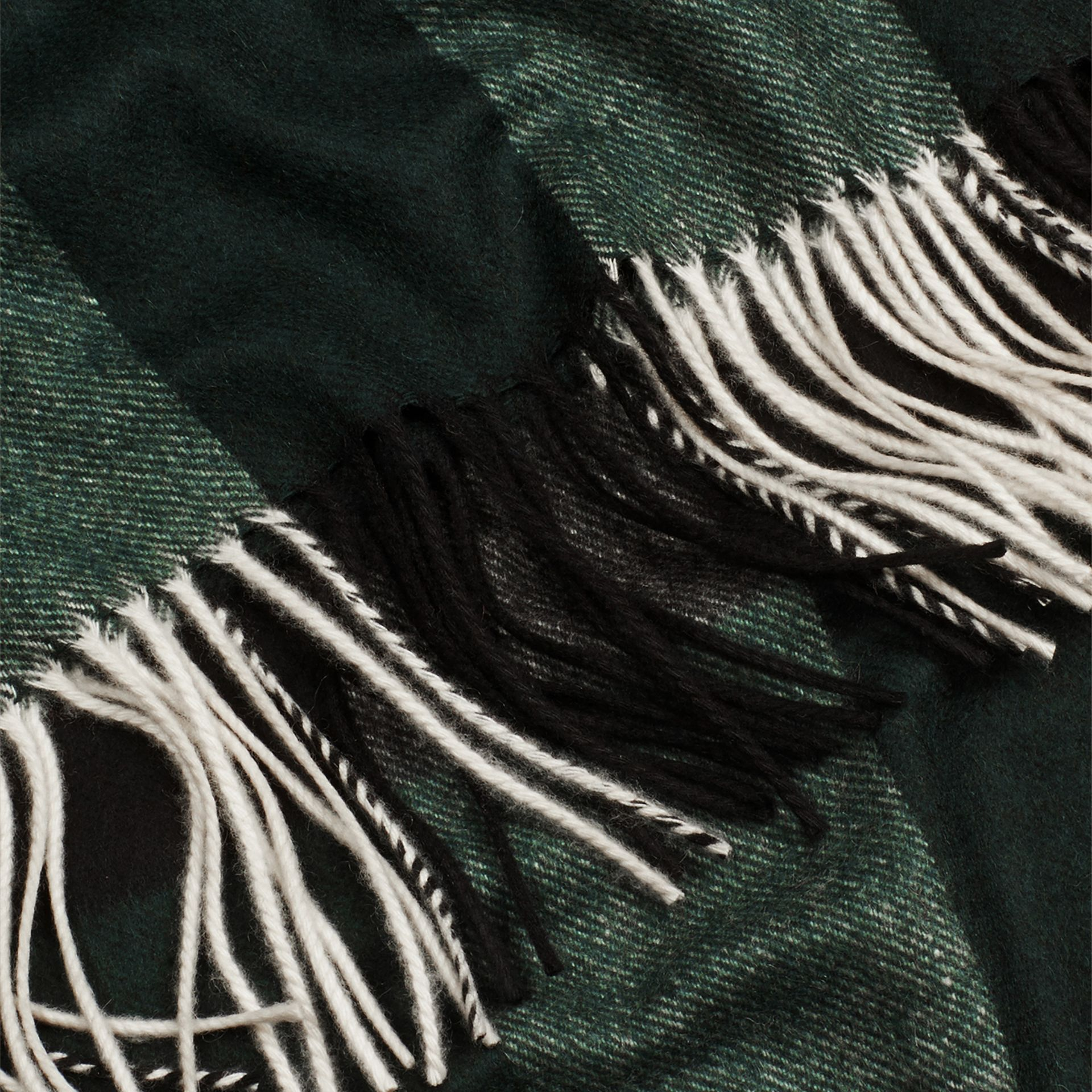 Check Cashmere Blanket in Dark Forest Green - gallery image 2
