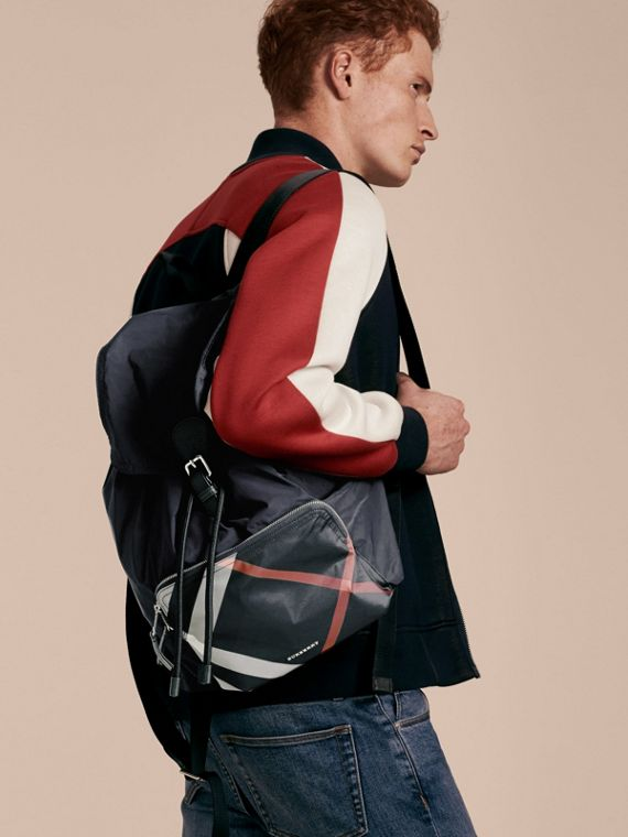 Check Detail Technical Packaway Rucksack in Navy - cell image 2