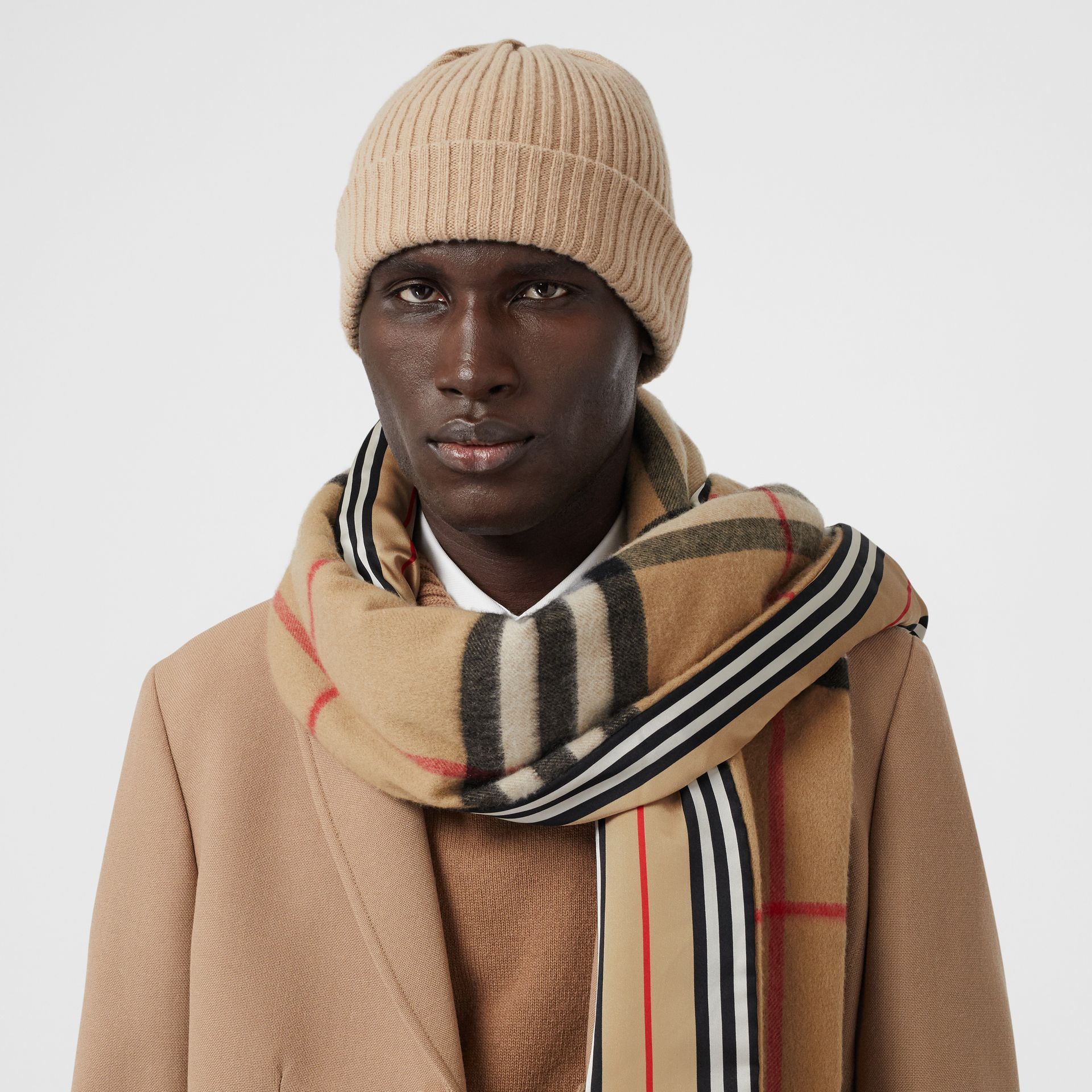 Check and Icon Stripe Cashmere Silk Puffer Scarf in Archive Beige | Burberry United Kingdom - gallery image 3