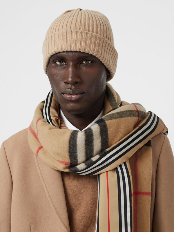 Check and Icon Stripe Cashmere Silk Puffer Scarf in Archive Beige | Burberry United Kingdom - cell image 3
