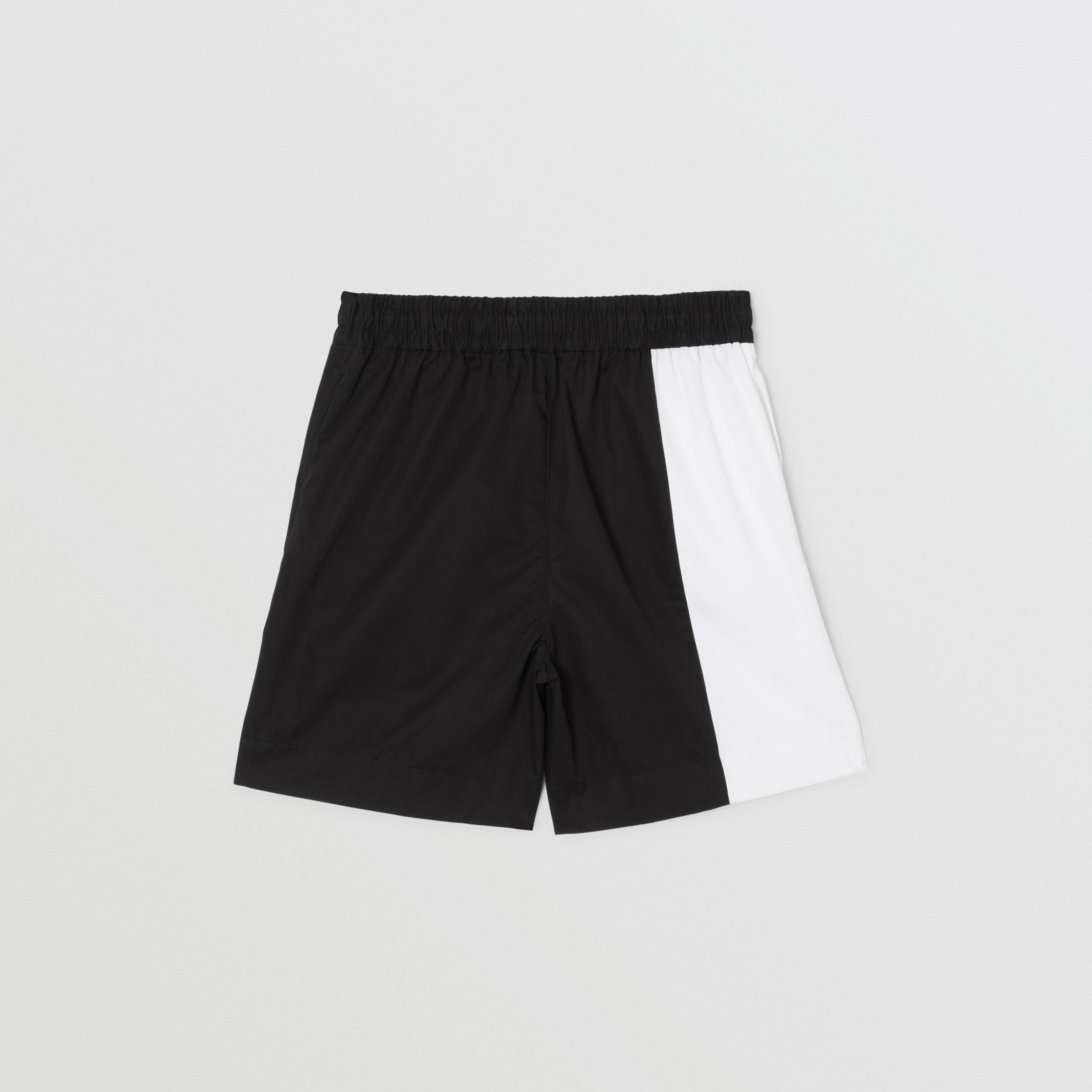 Logo Print Two-tone Cotton Drawcord Shorts in Black | Burberry - 4
