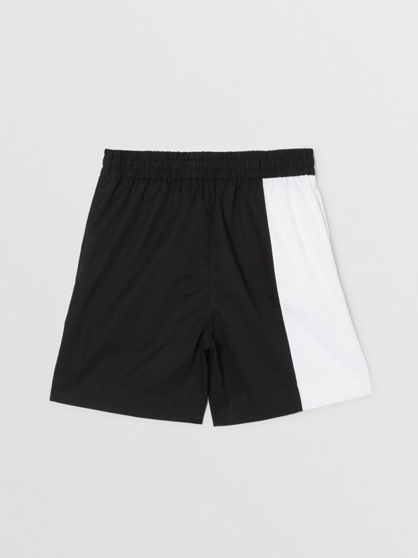 Logo Print Two-tone Cotton Drawcord Shorts in Black | Burberry United Kingdom - cell image 3