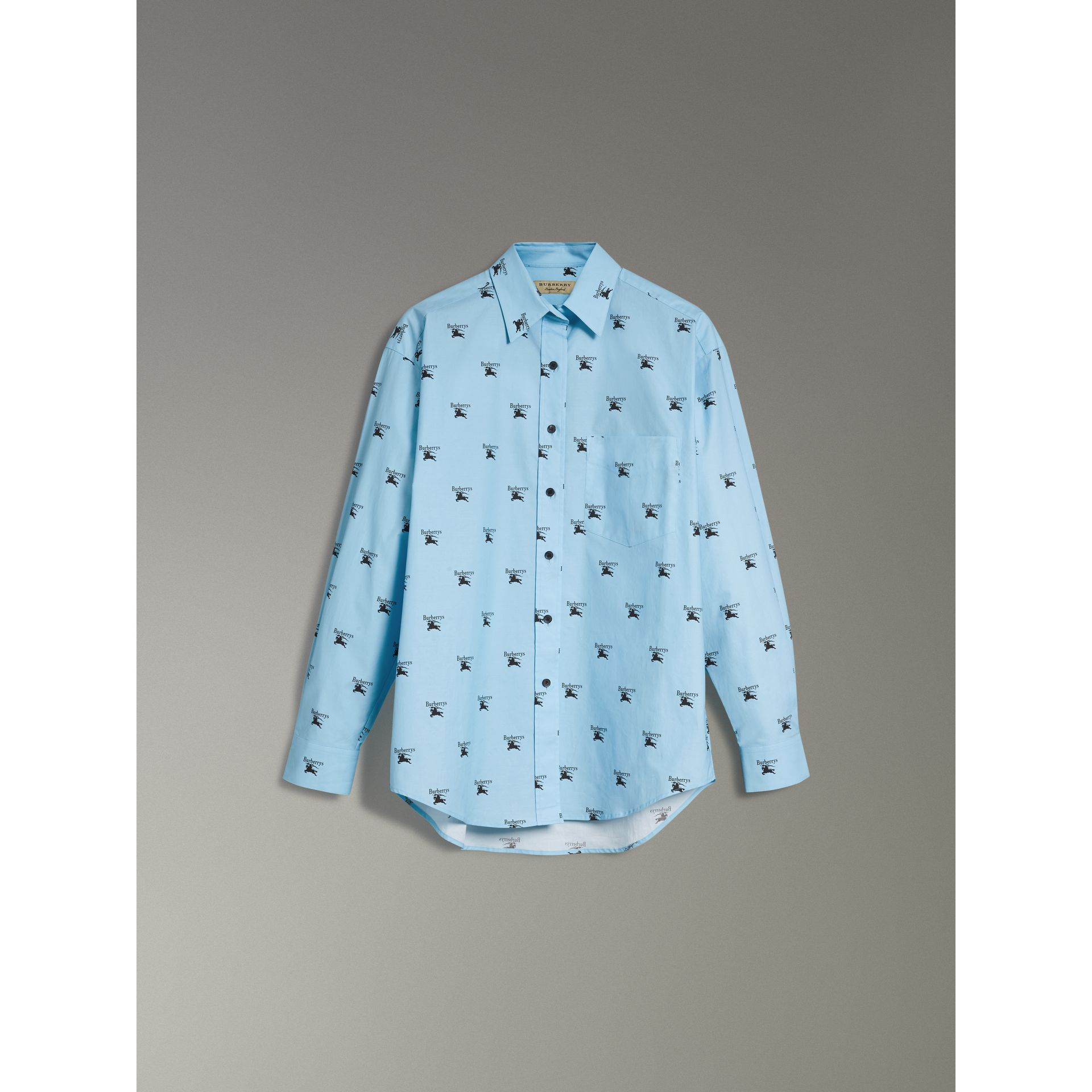 Logo Print Stretch Cotton Shirt in Sky Blue - Women | Burberry - gallery image 3