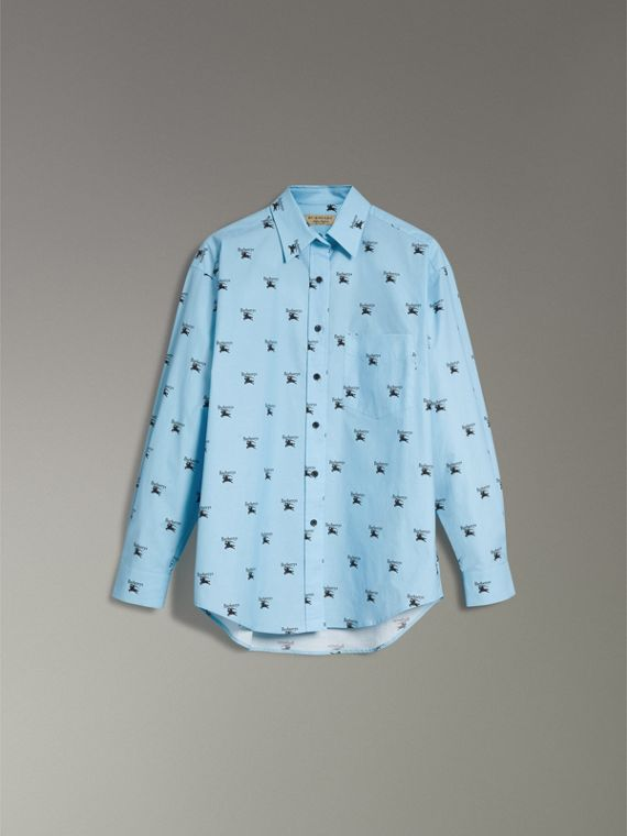 Logo Print Stretch Cotton Shirt in Sky Blue - Women | Burberry - cell image 3