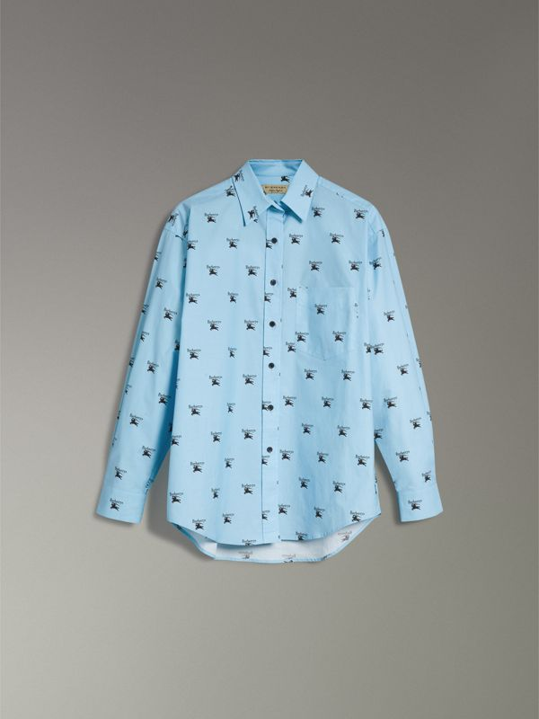 Logo Print Stretch Cotton Shirt in Sky Blue - Women | Burberry Hong Kong - cell image 3