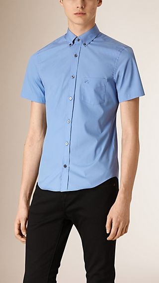 Camisa de popeline de algodão stretch com manga curta