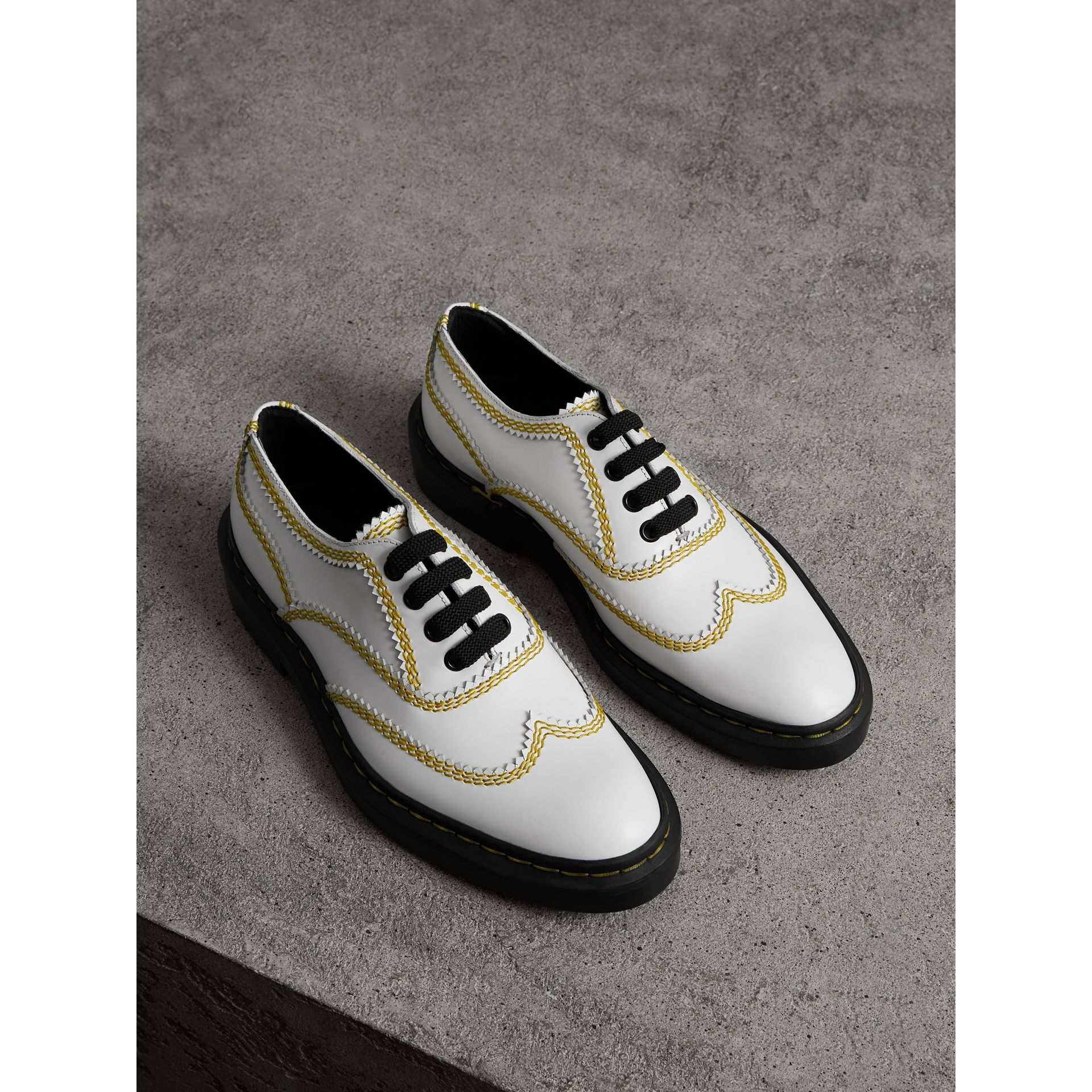 Topstitch Leather Lace-up Shoes in Optic White - Women | Burberry - gallery image 1