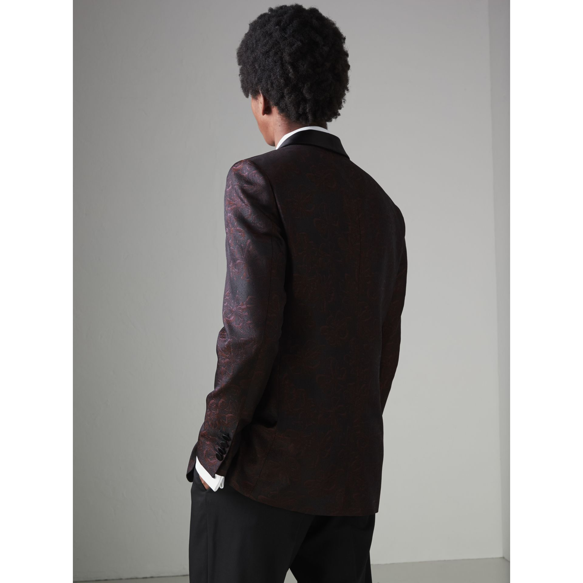 Slim Fit Floral Silk Jacquard Evening Jacket in Deep Claret - Men | Burberry Singapore - gallery image 2