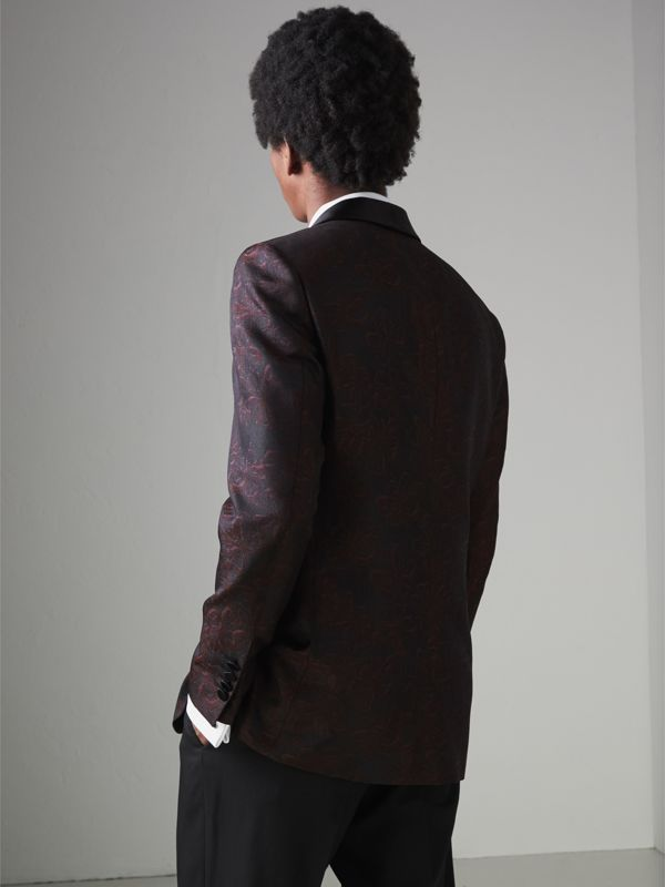 Slim Fit Floral Silk Jacquard Evening Jacket in Deep Claret - Men | Burberry Singapore - cell image 2