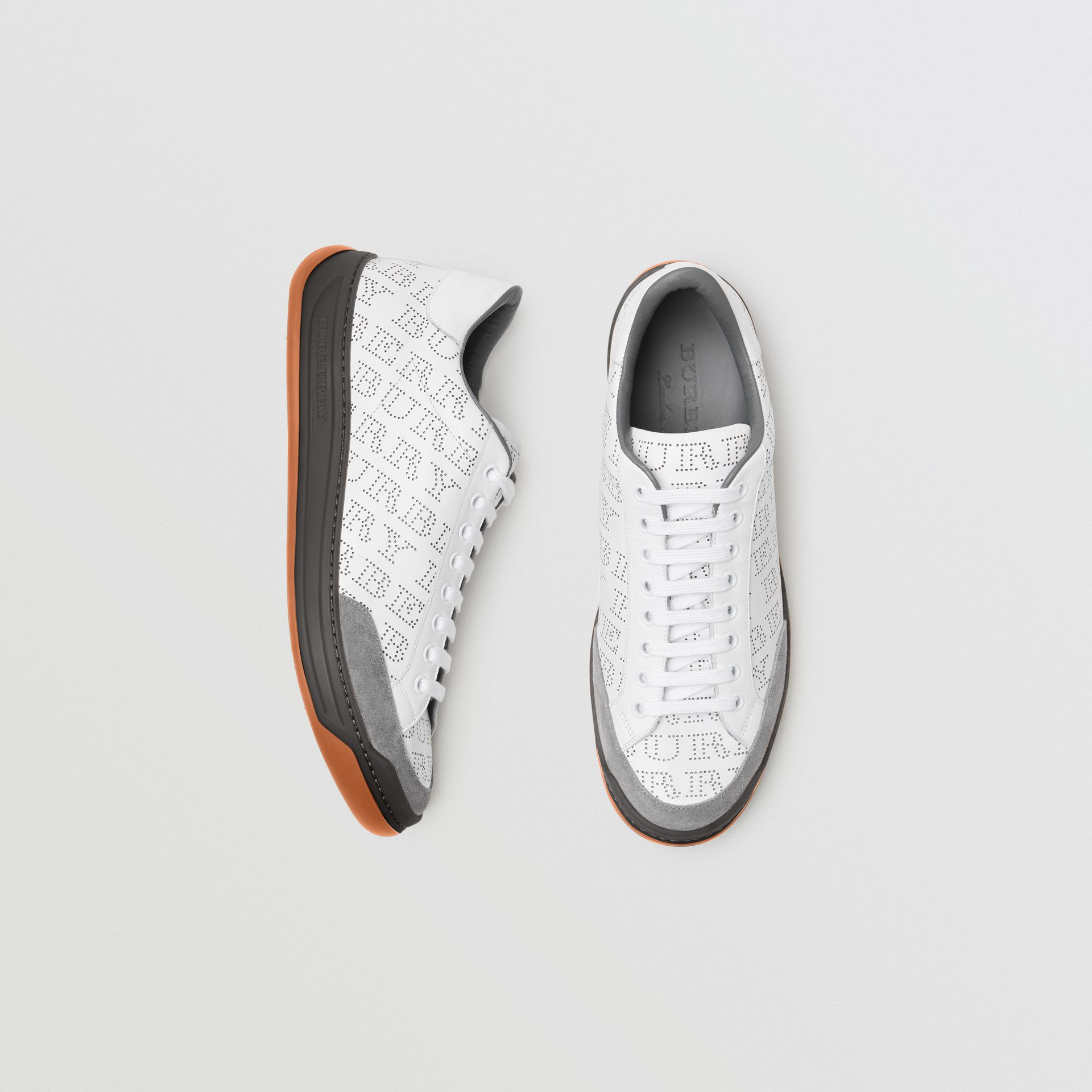 Perforated Logo Leather Sneakers in Optic White/dark Grey Melange - Men | Burberry - gallery image 0