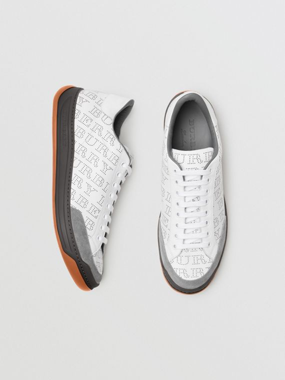 Perforated Logo Leather Sneakers in Optic White/dark Grey Melange