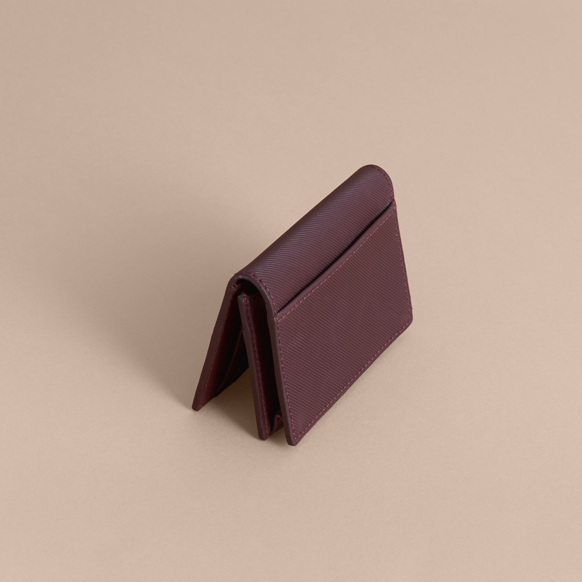 Trench Leather Folding Card Case in Wine - Men | Burberry - gallery image 3