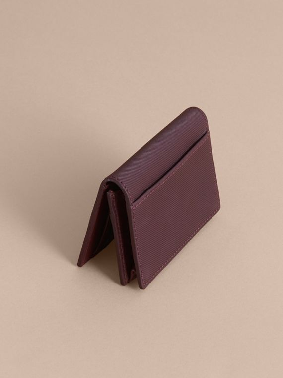 Trench Leather Folding Card Case in Wine - Men | Burberry United Kingdom - cell image 2