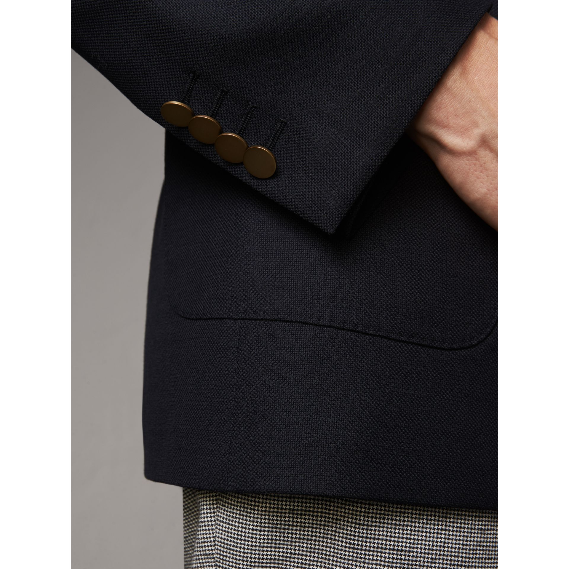 Modern Fit Tailored Wool Half-canvas Jacket in Navy - Men | Burberry Singapore - gallery image 4