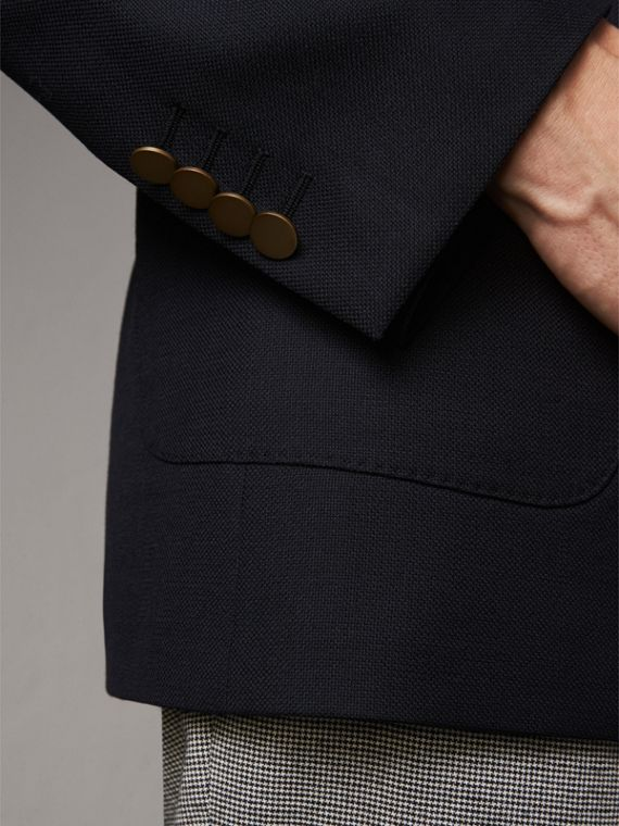 Modern Fit Tailored Wool Half-canvas Jacket in Navy - Men | Burberry Singapore - cell image 3