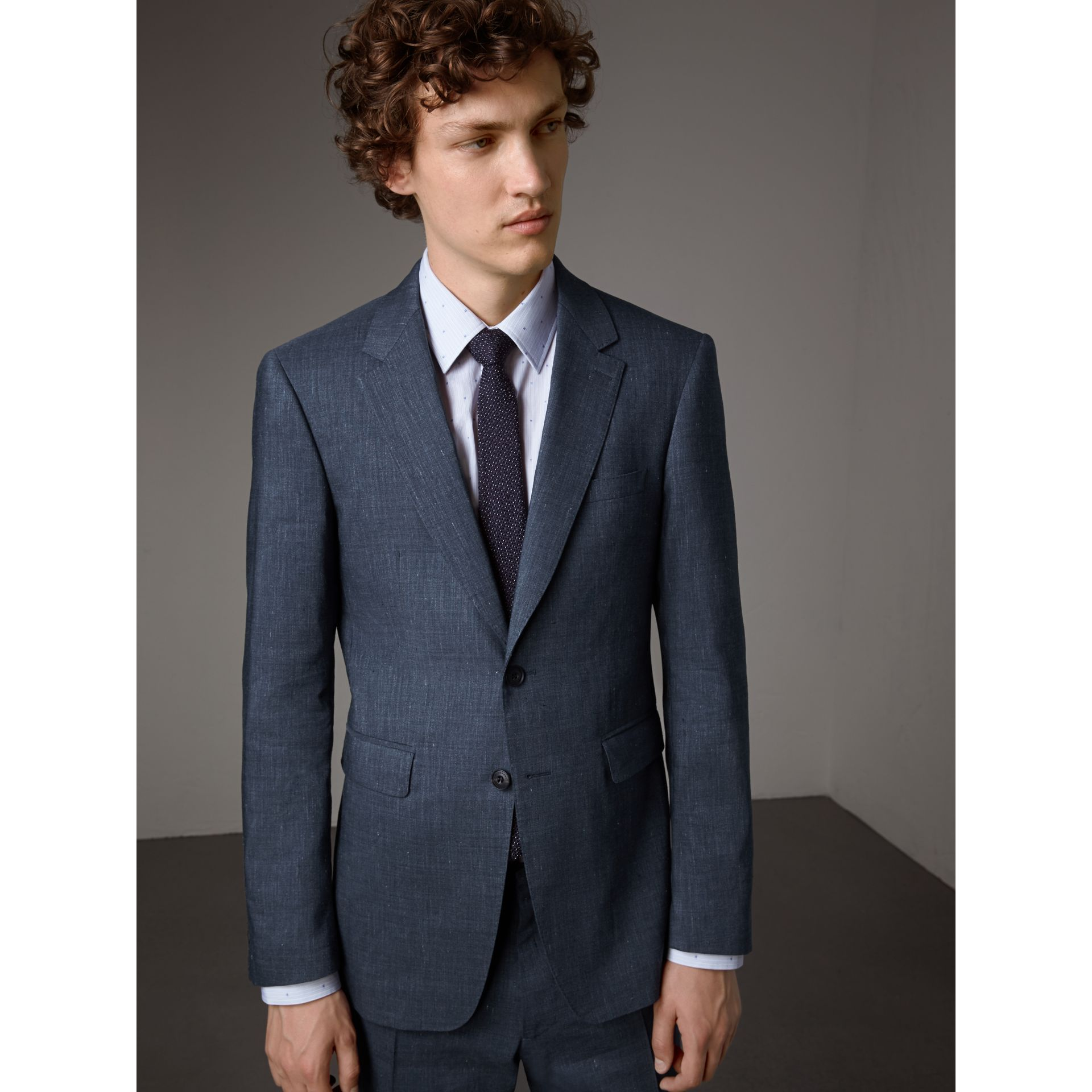 Modern Fit Travel Tailoring Linen Wool Suit in Slate Blue - Men | Burberry - gallery image 8