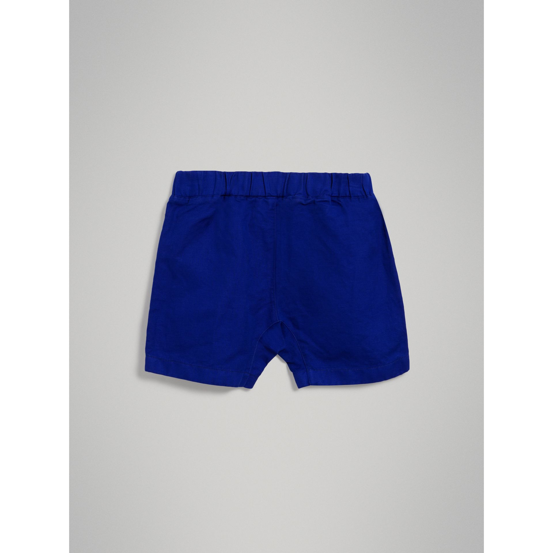 Drawcord Cotton Linen Twill Shorts in Brilliant Blue - Boy | Burberry Hong Kong - gallery image 3