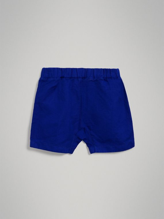 Drawcord Cotton Linen Twill Shorts in Brilliant Blue - Boy | Burberry - cell image 3