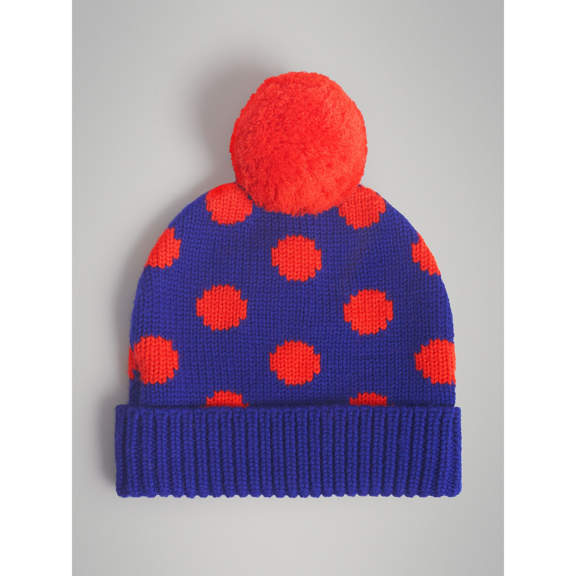 Polka Dot Wool Turnback Beanie in Dark Blue | Burberry Australia - gallery image 4