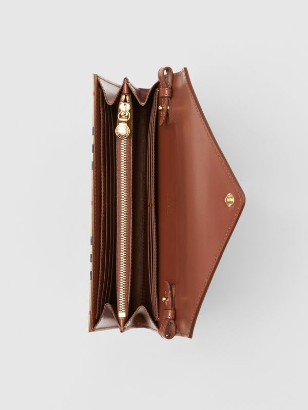 Vintage Check and Leather Wallet with Detachable Strap in Tan - Women | Burberry United Kingdom - cell image 3