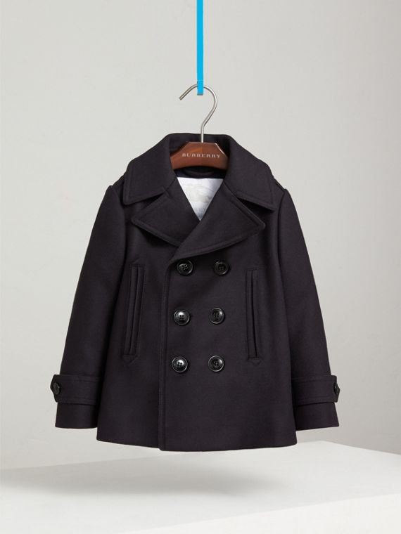 Wool Cashmere Blend Pea Coat with Down-filled Gilet in Navy