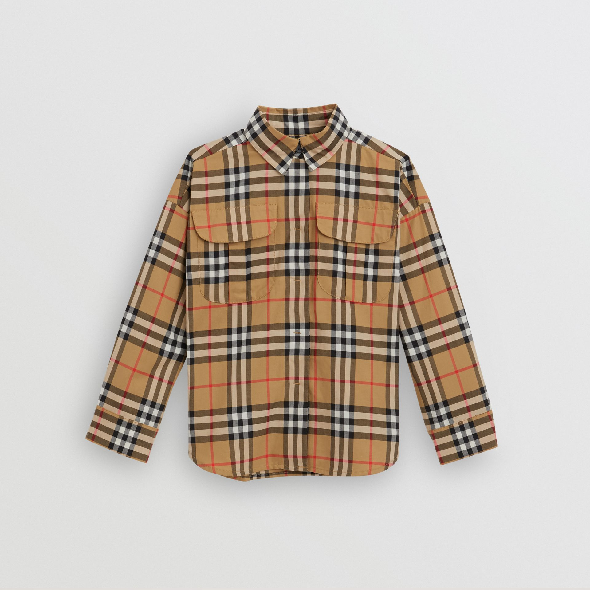 Vintage Check Cotton Shirt in Antique Yellow - Children | Burberry - gallery image 0
