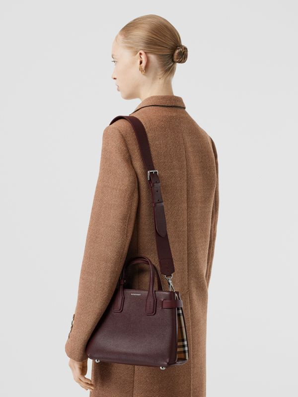 The Small Banner Bag in Leather and Vintage Check in Mahogany Red - Women | Burberry United States - cell image 2