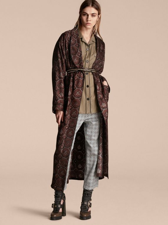 Geometric Wallpaper Print Silk Twill Dressing Gown Coat