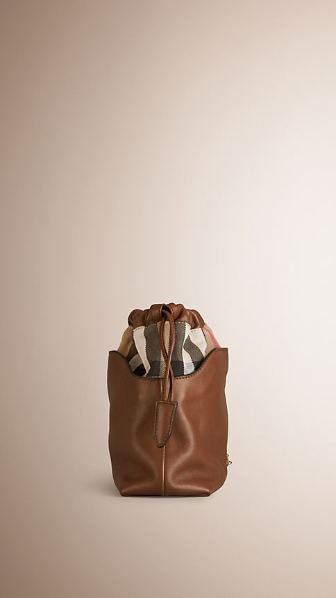 Brown ochre The Little Crush in Leather and House Check - Image 4