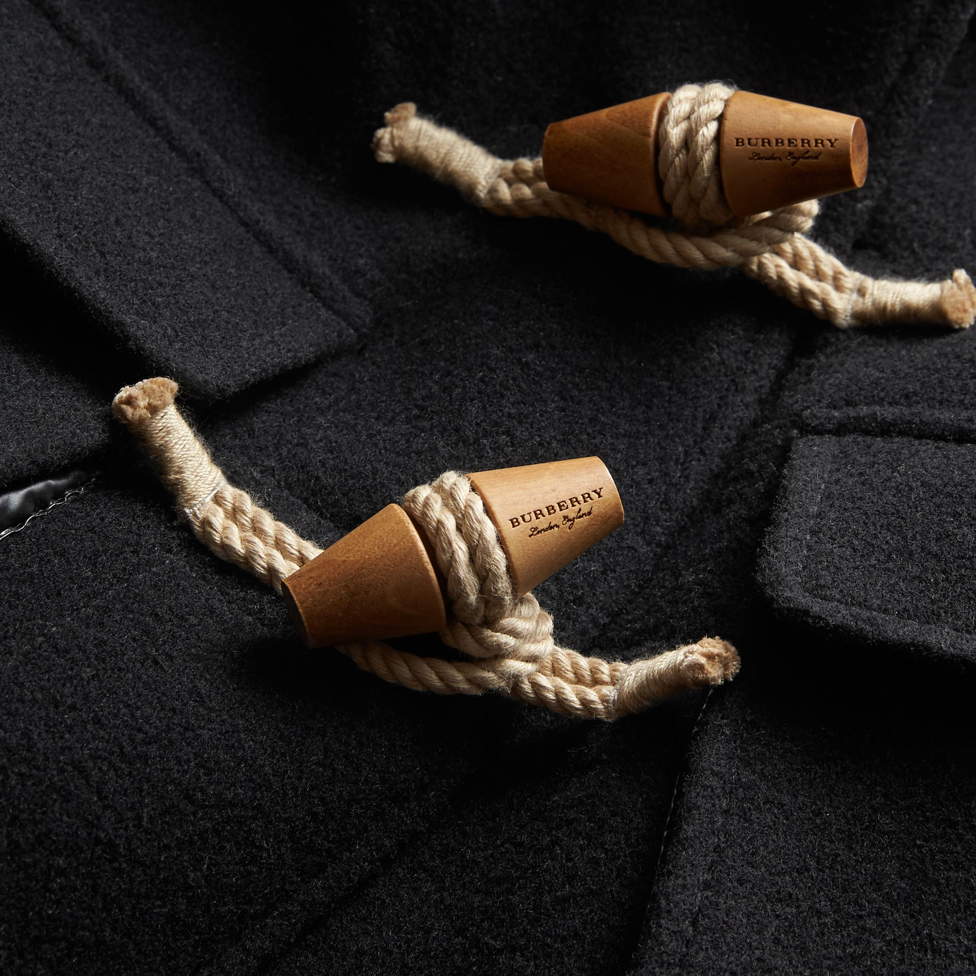 Detachable Hood Down-filled Wool Blend Duffle Coat in Black | Burberry - gallery image 2