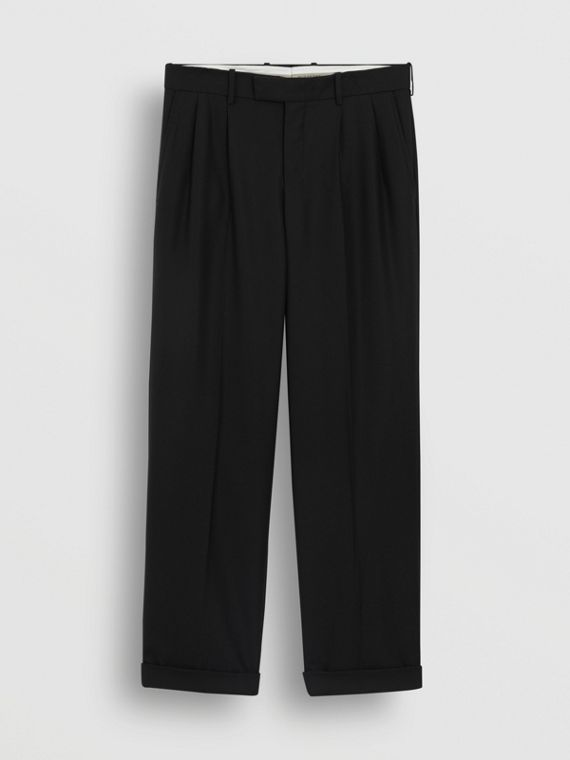 Wide-leg Wool Mohair Tailored Trousers in Black