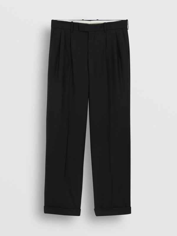 Wool Mohair Wide-leg Tailored Trousers in Black - Men | Burberry United Kingdom - cell image 3