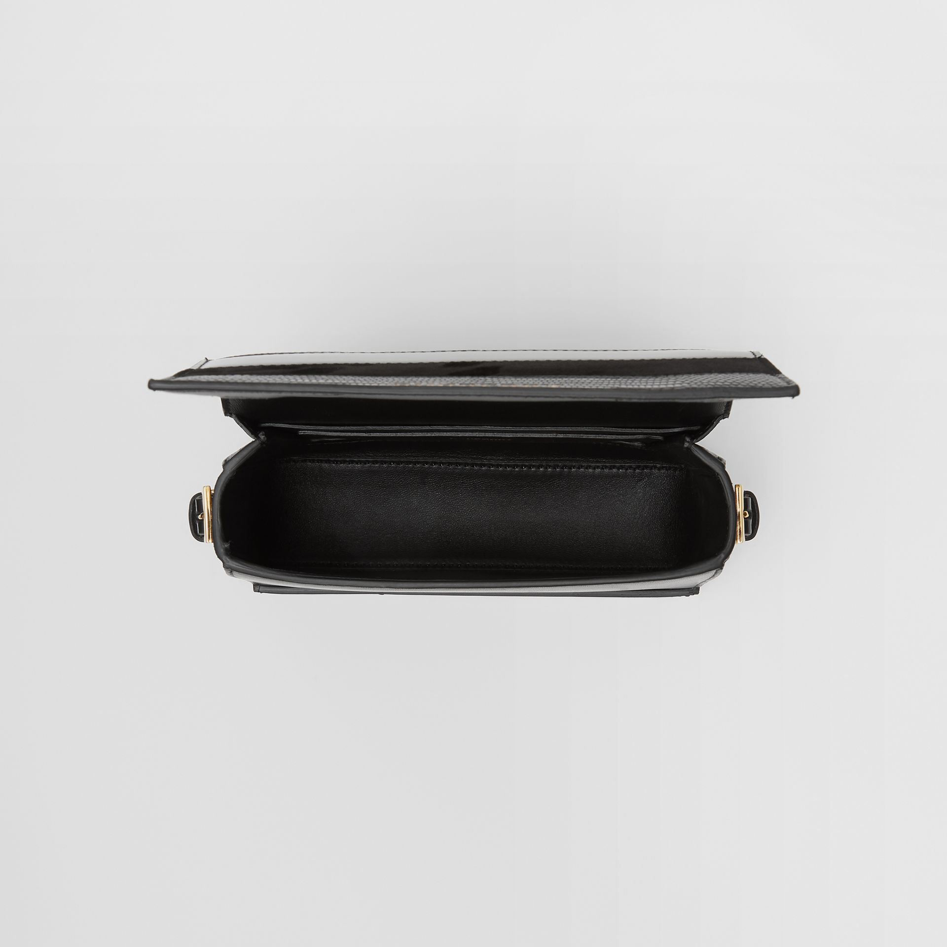Small Panelled Deerskin and Suede Grace Bag in Black - Women | Burberry United States - gallery image 3