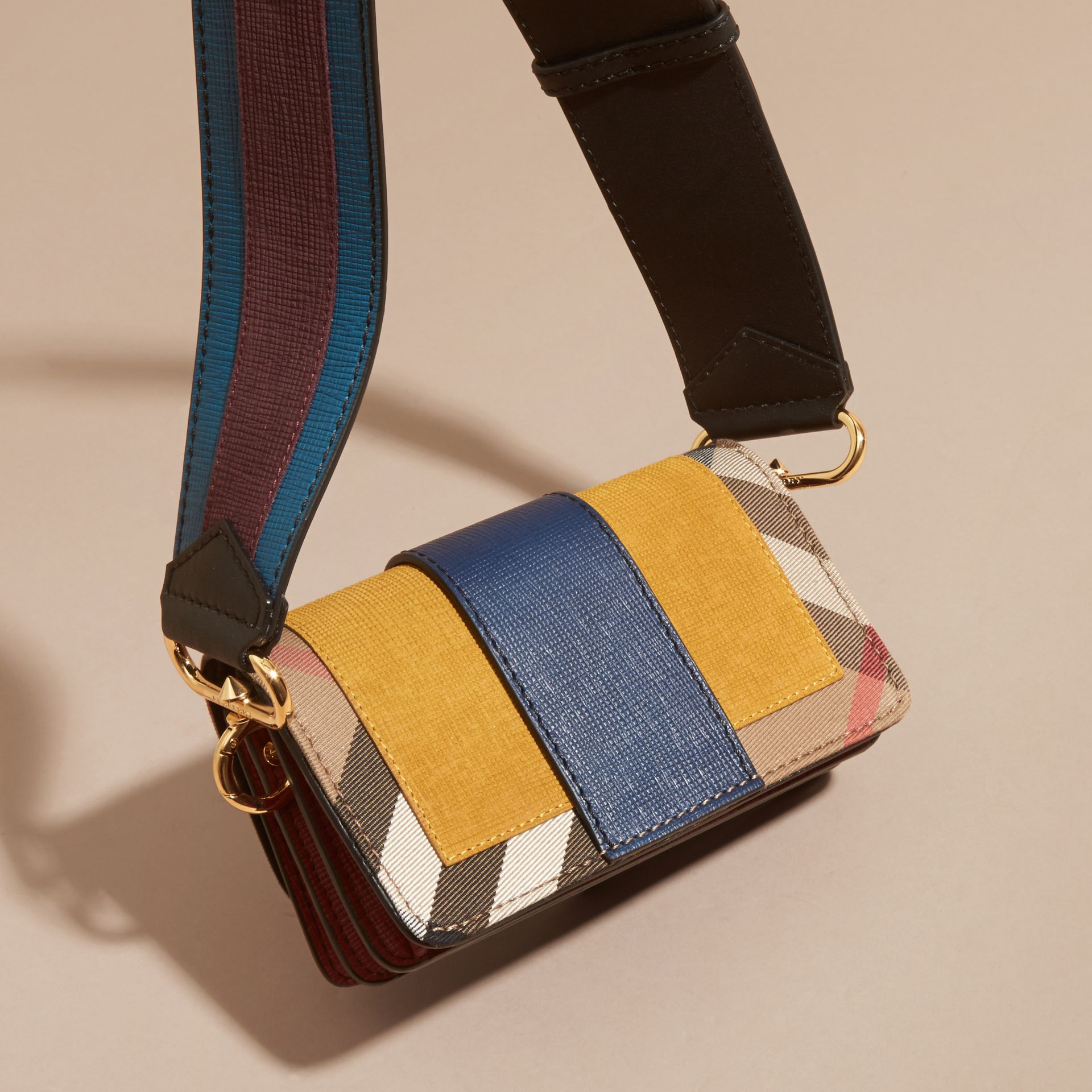 The Small Buckle Bag in Suede and House Check in Larch Yellow - gallery image 5