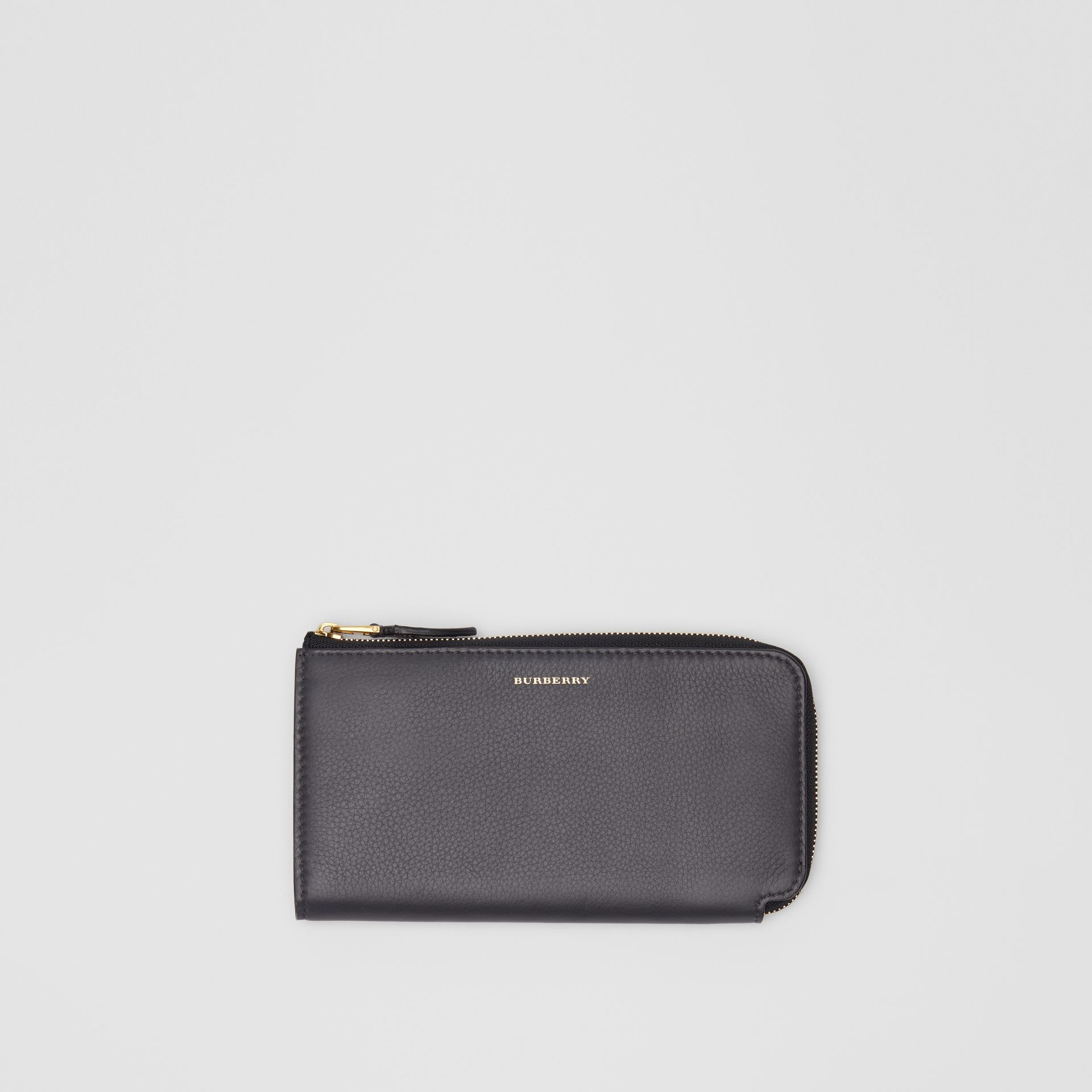 Two-tone Leather Ziparound Wallet and Coin Case in Charcoal Grey - Women | Burberry - gallery image 0