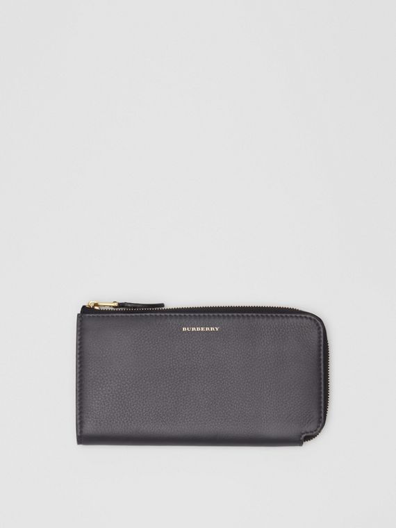 Two-tone Leather Ziparound Wallet and Coin Case in Charcoal Grey