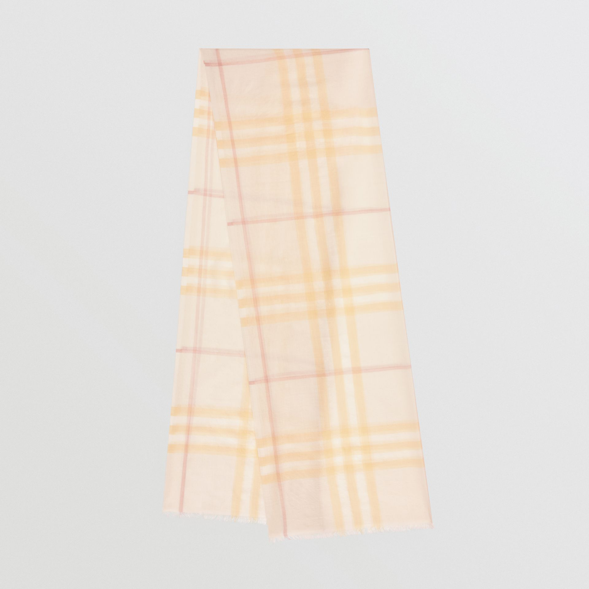 Lightweight Check Wool and Silk Scarf in Primrose | Burberry Australia - gallery image 0