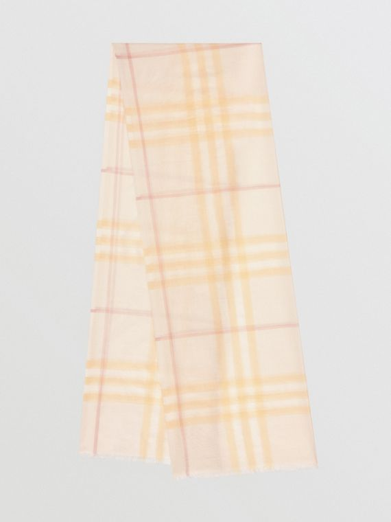 Lightweight Check Wool and Silk Scarf in Primrose