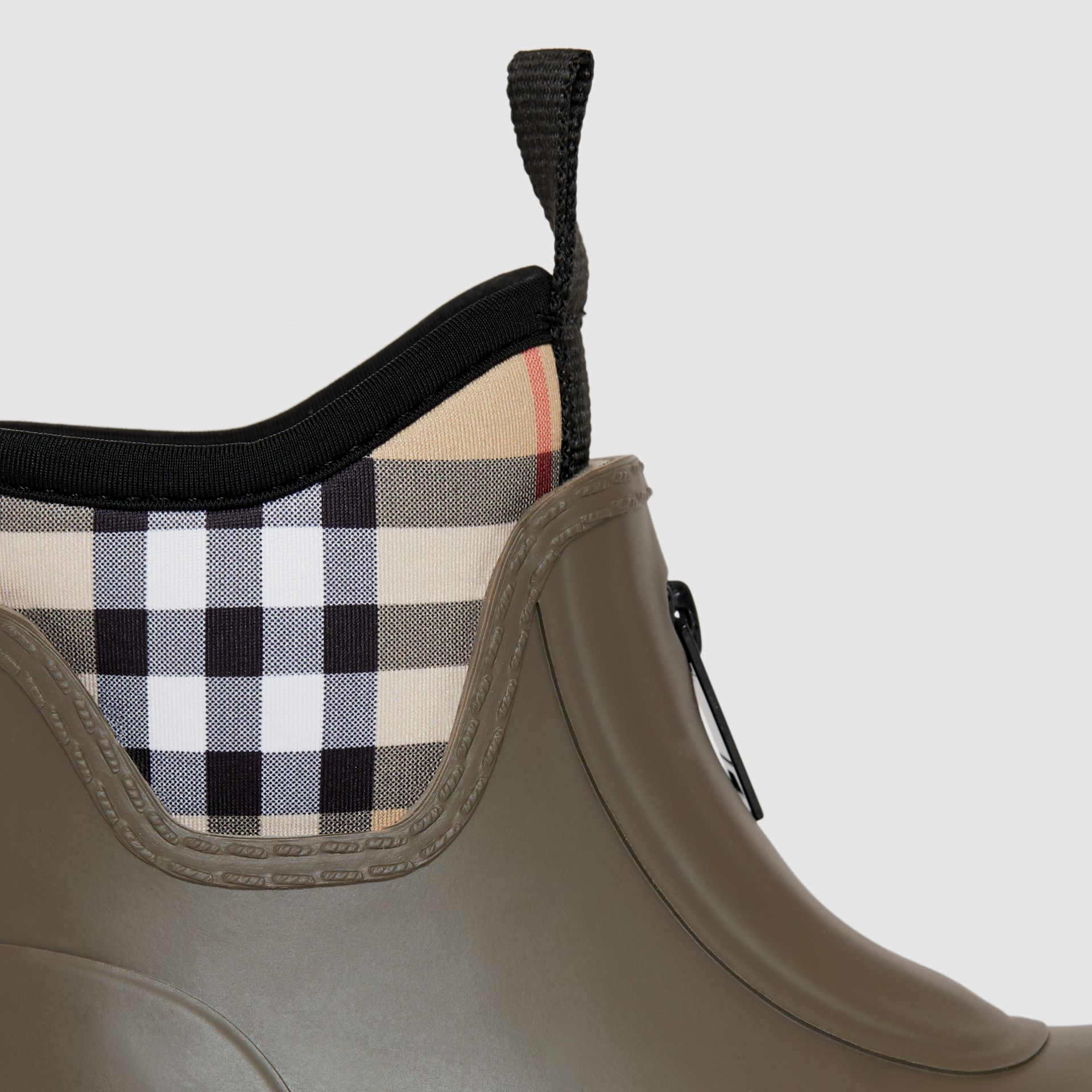Vintage Check Neoprene and Rubber Rain Boots in Military Green - Children | Burberry Australia - gallery image 1