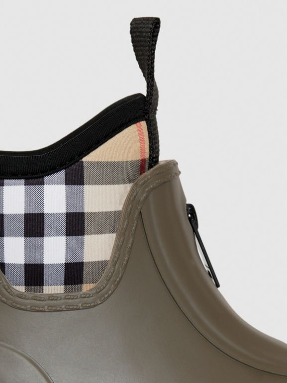 Vintage Check Neoprene and Rubber Rain Boots in Military Green - Children | Burberry Australia - cell image 1