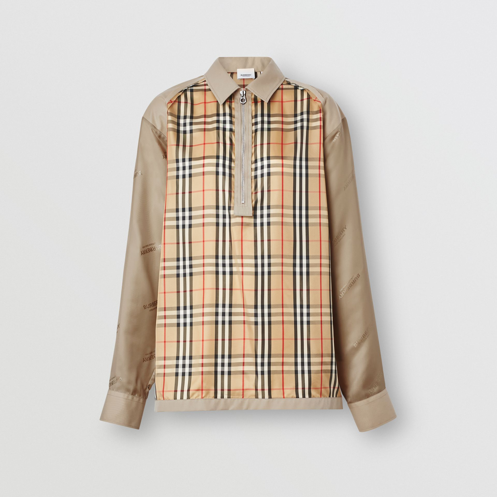 Seam Detail Vintage Check Shirt in Archive Beige - Men   Burberry United States - gallery image 3