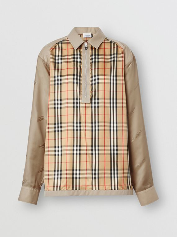 Seam Detail Vintage Check Shirt in Archive Beige