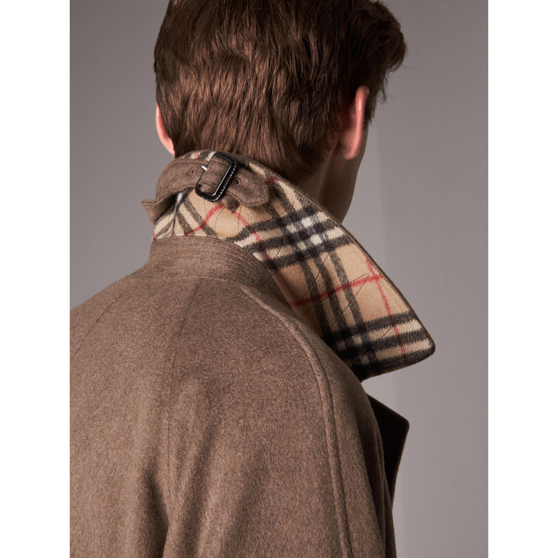 Cashmere Car Coat in Deep Taupe Melange - Men | Burberry - gallery image 2