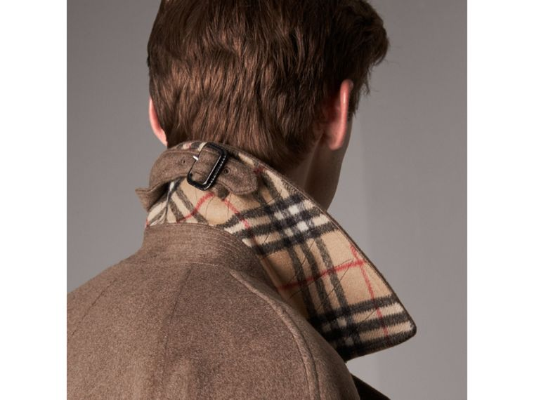 Cashmere Car Coat in Deep Taupe Melange - Men | Burberry United States - cell image 1