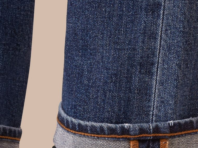 Indaco medio Jeans dal taglio dritto in denim stretch giapponese - cell image 4