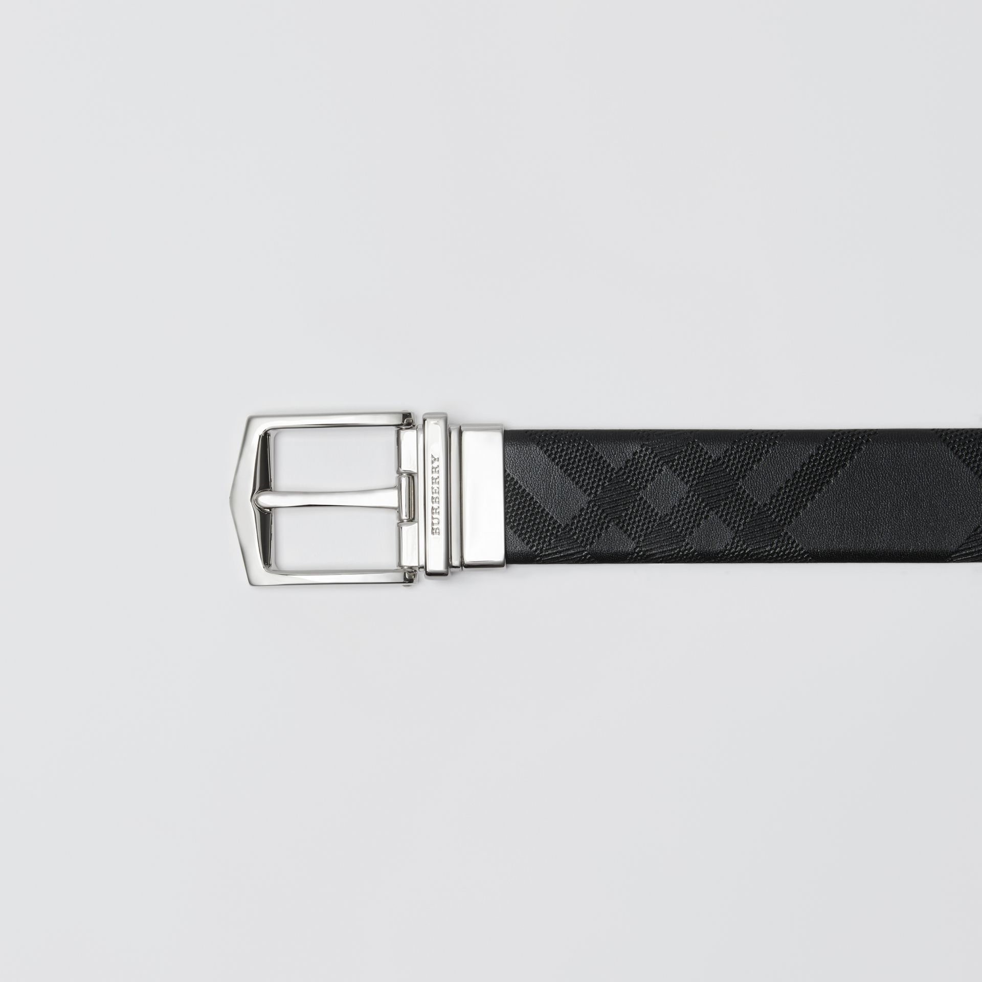 Reversible London Leather Belt in Black - Men | Burberry - gallery image 1